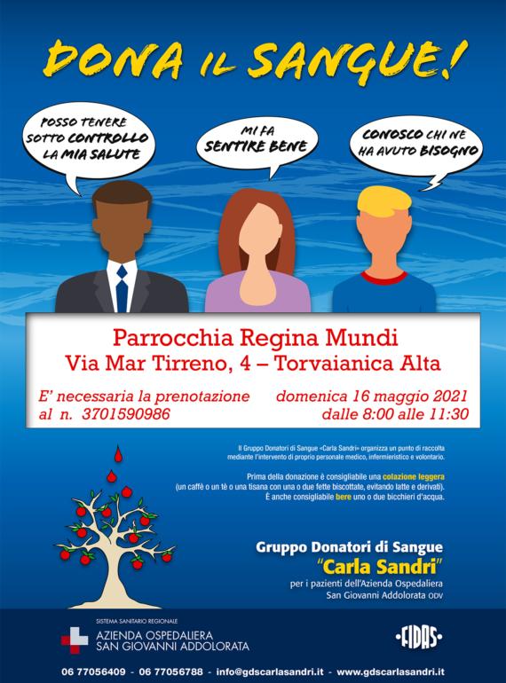Locandina-GDS-Carla-Sandri-raccolte-esterne-Regina-Mundi-torvaianica-16mag21